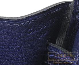 Hermes Birkin Touch bag 25 Blue encre Togo leather/Niloticus Crocodile skin Silver hardware