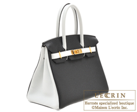 Hermes Birkin bag 30 Black/White Clemence leather Gold hardware