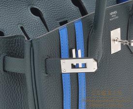 Hermes Birkin Officier 25 Vert cypres/Blue zellige Togo leather/Swift leather Silver hardware