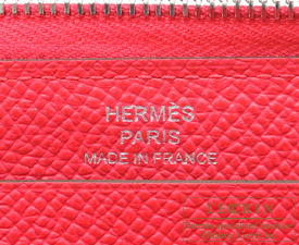 Hermes Azap long Rose extreme Epsom leather Silver hardware