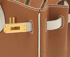 Hermes Birkin bag 25 Gold/Craie Togo leather Matt gold hardware