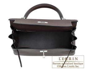 Hermes Kelly bag 28 Chocolat Togo leather Silver hardware