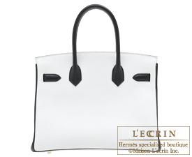 Hermes Birkin bag 30 White/Black Clemence leather Gold hardware