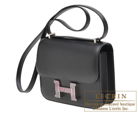 Hermes Constance Optique mini Black Tadelakt leather Silver hardware