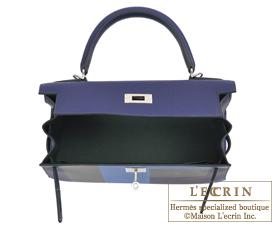 d72c57cf6792a Hermes Kelly Graphie bag 28 Sellier Blue encre Blue zellige Black Vert  cypres ...
