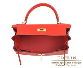 Hermes Kelly bag 28 Rouge coeur Togo leather Gold hardware