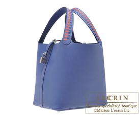 Hermes Picotin Lock Tressage De Cuir bag MM Blue brighton/Capucine/Blue saphir Epsom leather Silver hardware