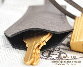 Hermes Kelly bag 28 Black/Etain Epsom leather Matt gold hardware