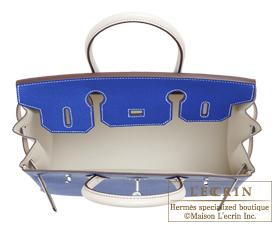 Hermes Birkin bag 30 Blue electric/Craie Epsom leather Silver hardware