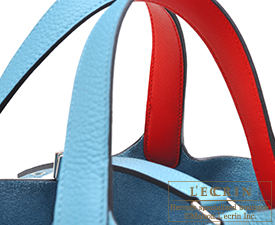 Hermes Picotin Lock Eclat bag PM Blue du nord/Rouge coeur Clemence leather/Swift leather Silver hardware