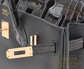 Hermes Birkin Touch bag 25 Black Novillo leather/Niloticus crocodile skin Rose gold hardware