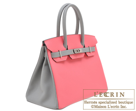 Hermes Birkin bag 30 Rose azalee/Gris mouette Epsom leather Matt silver hardware