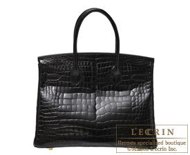 Hermes Birkin bag 30 Black Porosus crocodile skin Gold hardware