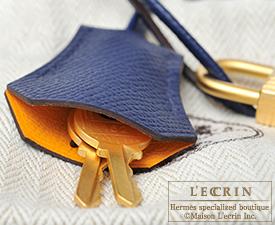 Hermes Kelly bag 28 Jaune d'or/Blue saphir Epsom leather Matt gold hardware