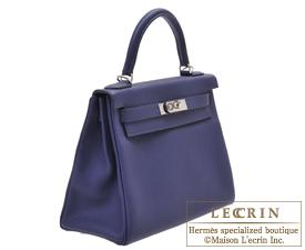 Hermes Kelly bag 28 Blue encre Togo leather Silver hardware