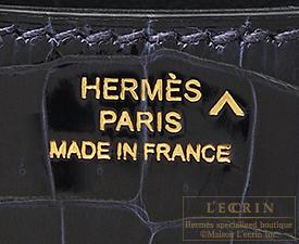 Hermes Constance mini Blue marine Porosus crocodile skin Gold hardware