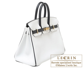 Hermes Birkin bag 25 White/Black Clemence leather Champagne gold hardware