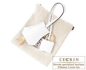 Hermes Birkin bag 25 White/Black Clemence leather Champagne gold hardware