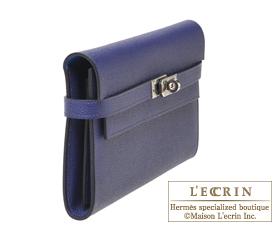 Hermes Kelly wallet long Verso Blue encre/Blue zellige Epsom leather Silver hardware