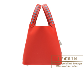 Hermes Picotin Lock Tressage De Cuir bag MM Rouge coeur/Blue du nord/Rouge H Epsom leather Silver hardware