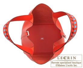 Hermes Picotin Lock Tressage De Cuir bag MM Rouge coeur/Blue du nord/Rouge H Epsom leather Silver hardware