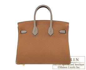 Hermes Birkin bag 25 Gold/Gris asphalt Togo leather Gold hardware