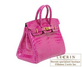 Hermes Birkin bag 25 Rose scheherazade Niloticus crocodile skin Gold hardware