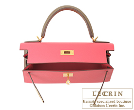 Hermes Kelly bag 28 Rose azalee/Etoupe grey Epsom leather Gold hardware