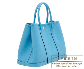 Hermes Garden Party bag TPM Blue du nord Country leather Silver hardware