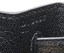Hermes Kelly bag 28 Black Togo leather/Porosus crocodile skin Gold hardware