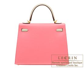 Hermes Personal Kelly bag 25 Rose azalee/Craie Epsom leather Matt gold hardware