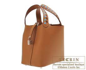 Hermes Picotin Lock Tressage De Cuir bag PM Gold/Blue du nord/Bordeaux Epsom leather Silver hardware