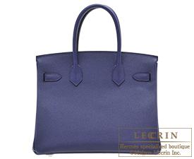 Hermes Birkin bag 30 Blue encre Epsom leather Silver hardware