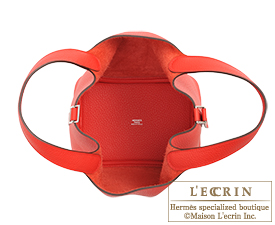 Hermes Picotin Lock bag PM Rouge coeur/Bright red Clemence leather Silver hardware