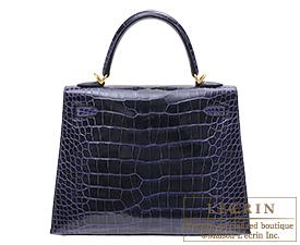 Hermes Kelly bag 25 Blue encre Alligator crocodile skin Gold hardware