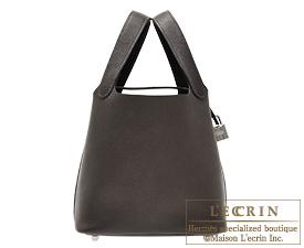 Hermes Picotin Lock bag PM Ebene Barenia faubourg leather Silver hardware