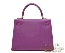 Hermes Kelly bag 25 Anemone Epsom leather Gold hardware