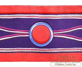 Hermes Twilly Maillons Rouge/Indigo/Fuchsia Silk