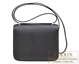 Hermes Personal Constance mini Black/Orange poppy Epsom leather Silver hardware