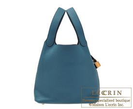 Hermes Picotin Lock bag MM Vert bosphore Clemence leather Gold hardware