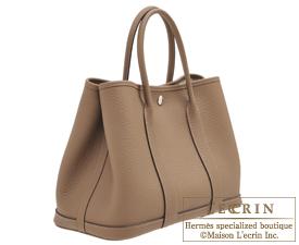 Hermes Garden Party bag TPM Beige de weimar Country leather Silver hardware