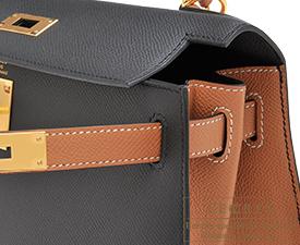 Hermes Kelly bag 28 Black/Gold Epsom leather Gold hardware