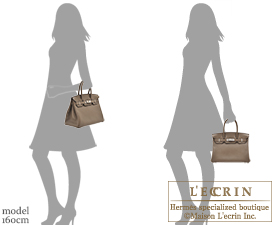 Hermes Birkin Verso bag 30 Taupe grey/Mousse Clemence leather Silver hardware